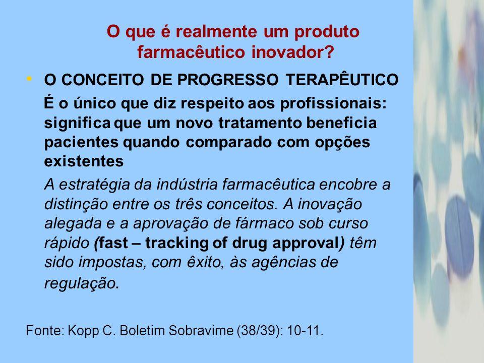 O que é realmente um produto farmacêutico inovador? O CONCEITO DE PROGRESSO TERAPÊUTICO É o único que diz respeito aos profissionais: significa que um
