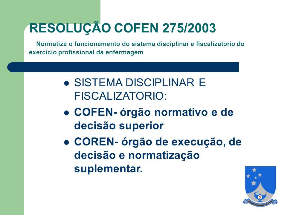 RESOLUÇÃO COFEN 275/2003 Normatiza o funcionamento do sistema disciplinar e fiscalizatorio do exercício profissional da enfermagem SISTEMA DISCIPLINAR E FISCALIZATORIO: COFEN- órgão normativo e de decisão superior COREN- órgão de execução, de decisão e normatização suplementar.
