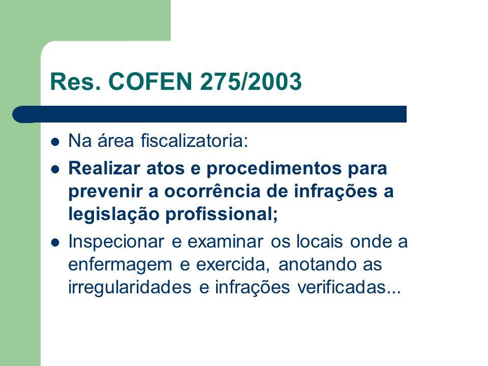 Res. COFEN 275/2003 Na área fiscalizatoria: Realizar atos e procedimentos para prevenir a ocorrência de infrações a legislação profissional; Inspecion