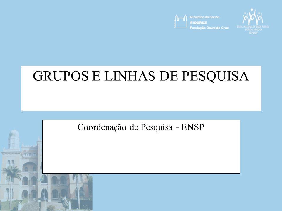 Situação dos Grupos de Pesquisa da ENSP em 30/05/2006