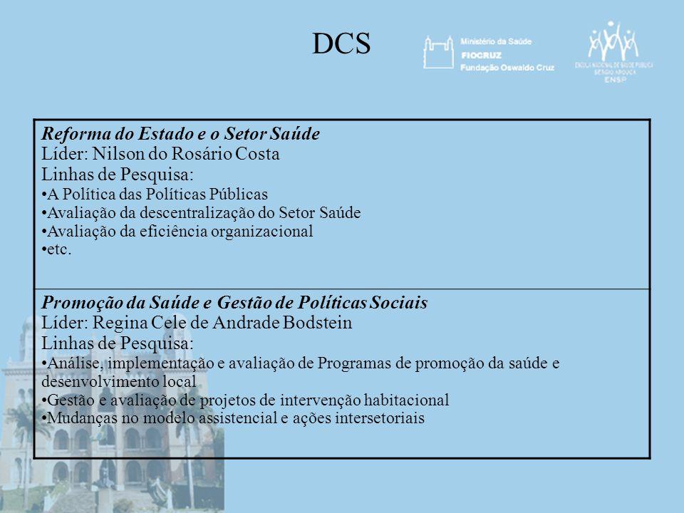 DCS Reforma do Estado e o Setor Saúde Líder: Nilson do Rosário Costa Linhas de Pesquisa: A Política das Políticas Públicas Avaliação da descentralizaç