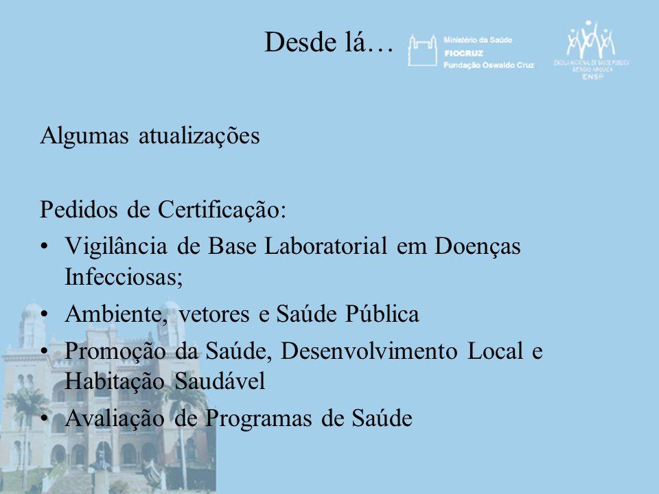 Desde lá… Algumas atualizações Pedidos de Certificação: Vigilância de Base Laboratorial em Doenças Infecciosas; Ambiente, vetores e Saúde Pública Prom