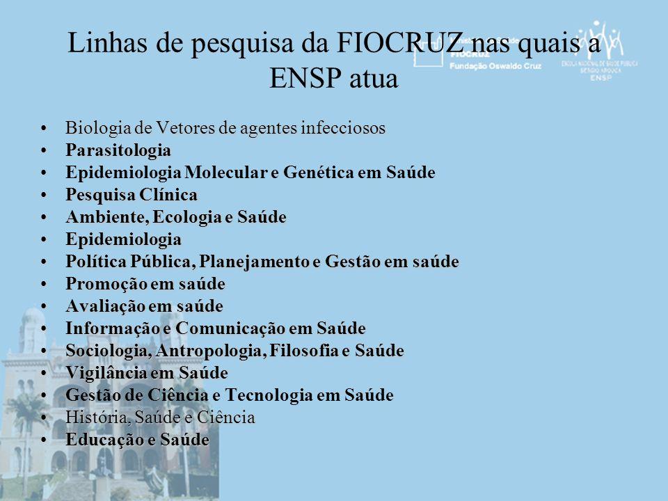 Linhas de pesquisa da FIOCRUZ nas quais a ENSP atua Biologia de Vetores de agentes infecciososBiologia de Vetores de agentes infecciosos Parasitologia