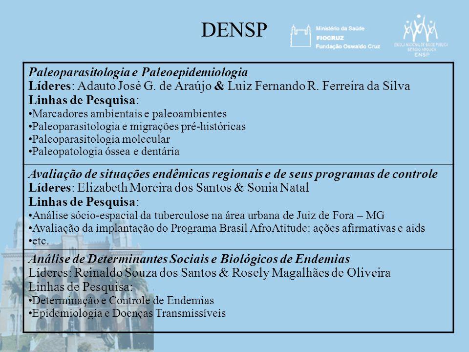 DENSP Paleoparasitologia e Paleoepidemiologia Líderes: Adauto José G. de Araújo & Luiz Fernando R. Ferreira da Silva Linhas de Pesquisa: Marcadores am