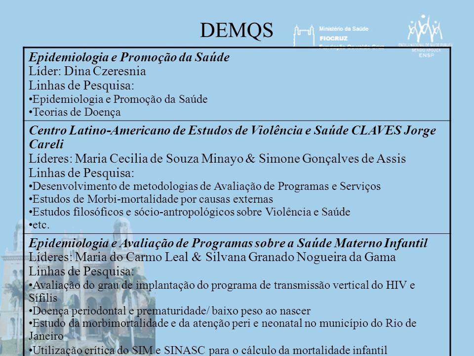 DEMQS Epidemiologia e Promoção da Saúde Líder: Dina Czeresnia Linhas de Pesquisa: Epidemiologia e Promoção da Saúde Teorias de Doença Centro Latino-Am