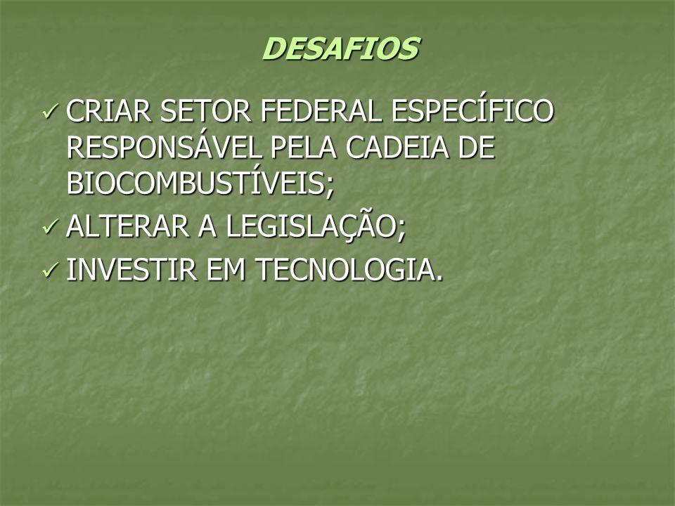 DESAFIOS CRIAR SETOR FEDERAL ESPECÍFICO RESPONSÁVEL PELA CADEIA DE BIOCOMBUSTÍVEIS; CRIAR SETOR FEDERAL ESPECÍFICO RESPONSÁVEL PELA CADEIA DE BIOCOMBU