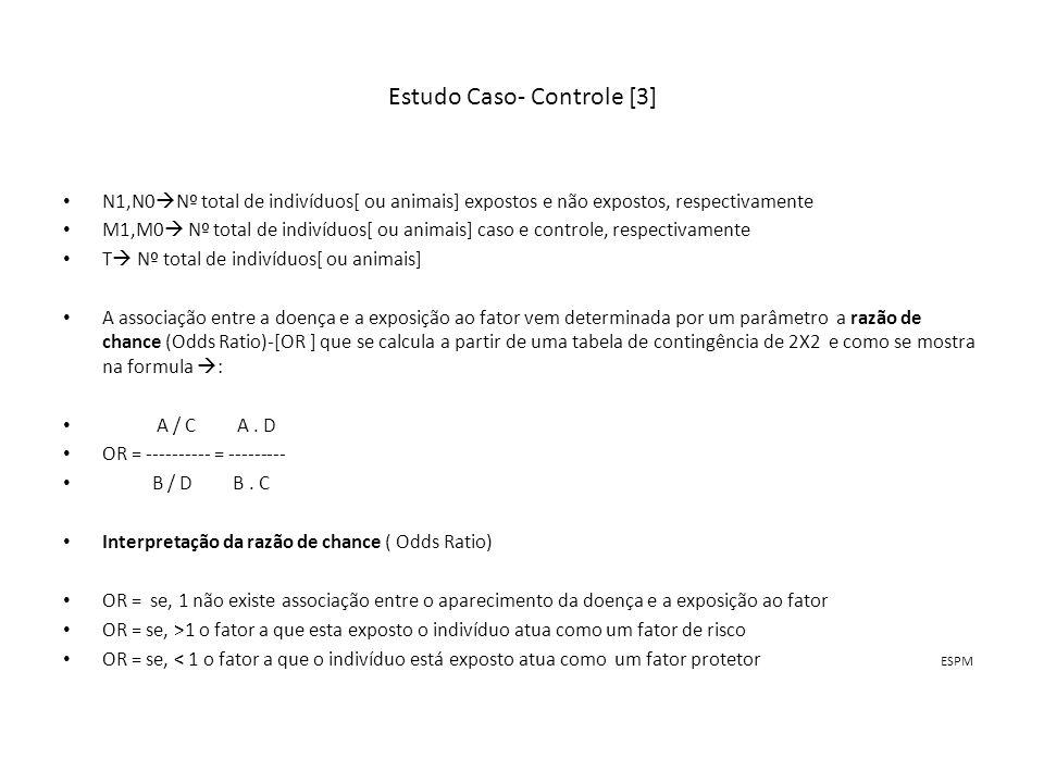 Estudo Caso- Controle [3] N1,N0 Nº total de indivíduos[ ou animais] expostos e não expostos, respectivamente M1,M0 Nº total de indivíduos[ ou animais]