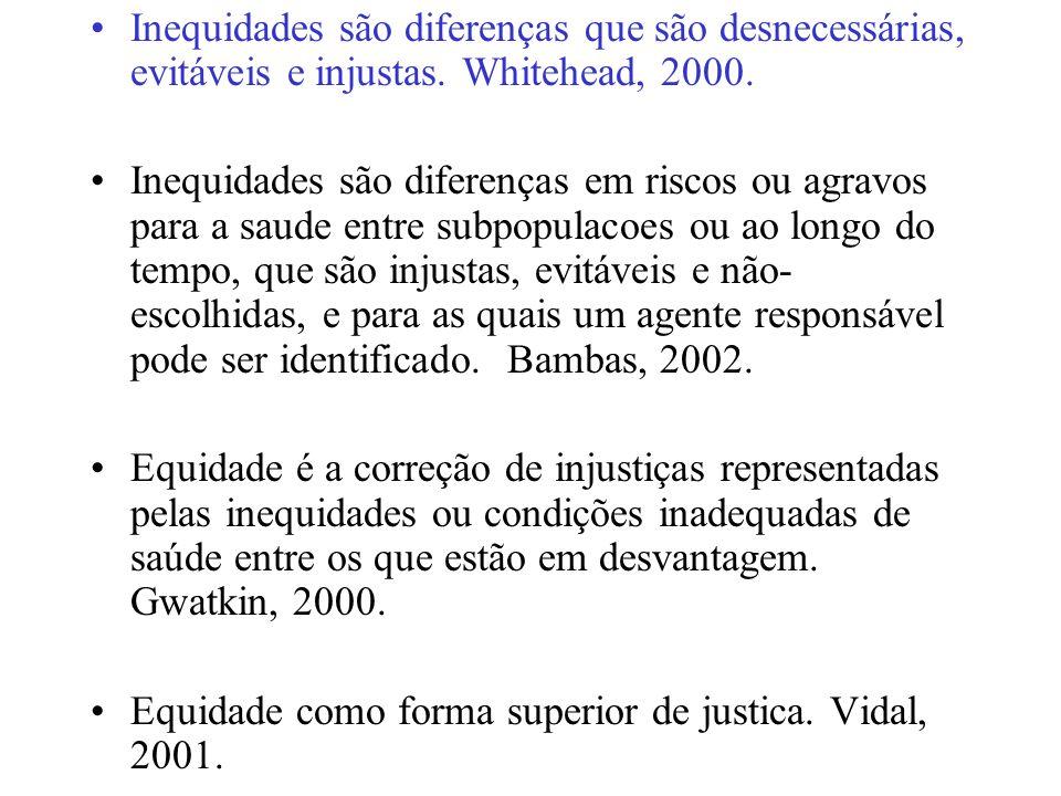 Inequidades são diferenças que são desnecessárias, evitáveis e injustas.