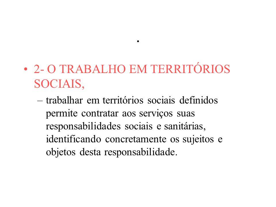 . 2- O TRABALHO EM TERRITÓRIOS SOCIAIS, –trabalhar em territórios sociais definidos permite contratar aos serviços suas responsabilidades sociais e sanitárias, identificando concretamente os sujeitos e objetos desta responsabilidade.