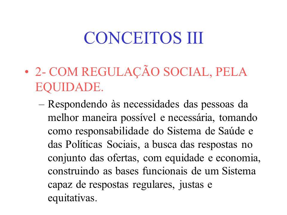 CONCEITOS III 2- COM REGULAÇÃO SOCIAL, PELA EQUIDADE.
