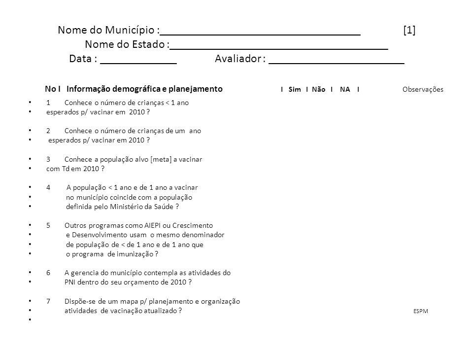 Continuação [2] No I Capacitação e Supervisão I Sim I Não I NA I Observações 8 Existe um cronograma de Supervisão de imunização p/ 2010 .
