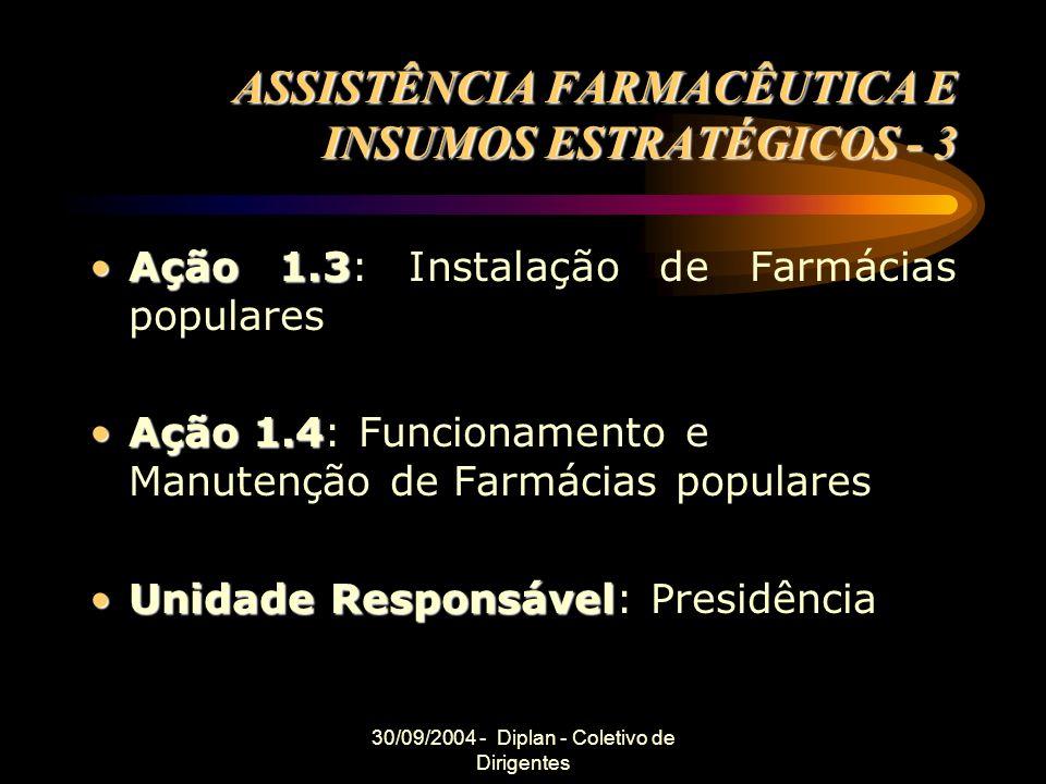 30/09/2004 - Diplan - Coletivo de Dirigentes ASSISTÊNCIA FARMACÊUTICA E INSUMOS ESTRATÉGICOS - 3 Ação 1.3Ação 1.3: Instalação de Farmácias populares Ação 1.4Ação 1.4: Funcionamento e Manutenção de Farmácias populares Unidade ResponsávelUnidade Responsável: Presidência