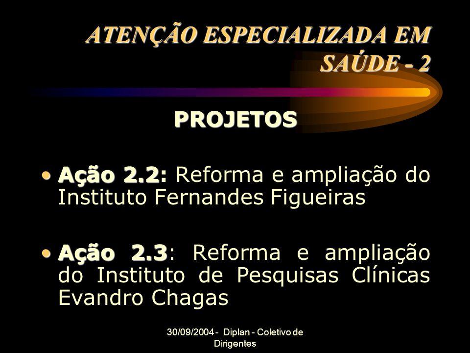 30/09/2004 - Diplan - Coletivo de Dirigentes ATENÇÃO ESPECIALIZADA EM SAÚDE - 2 PROJETOS Ação 2.2Ação 2.2: Reforma e ampliação do Instituto Fernandes