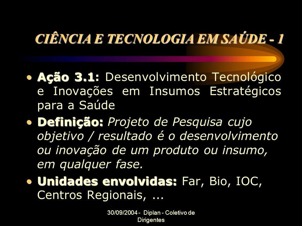30/09/2004 - Diplan - Coletivo de Dirigentes CIÊNCIA E TECNOLOGIA EM SAÚDE - 1 Ação 3.1Ação 3.1: Desenvolvimento Tecnológico e Inovações em Insumos Estratégicos para a Saúde Definição:Definição: Projeto de Pesquisa cujo objetivo / resultado é o desenvolvimento ou inovação de um produto ou insumo, em qualquer fase.