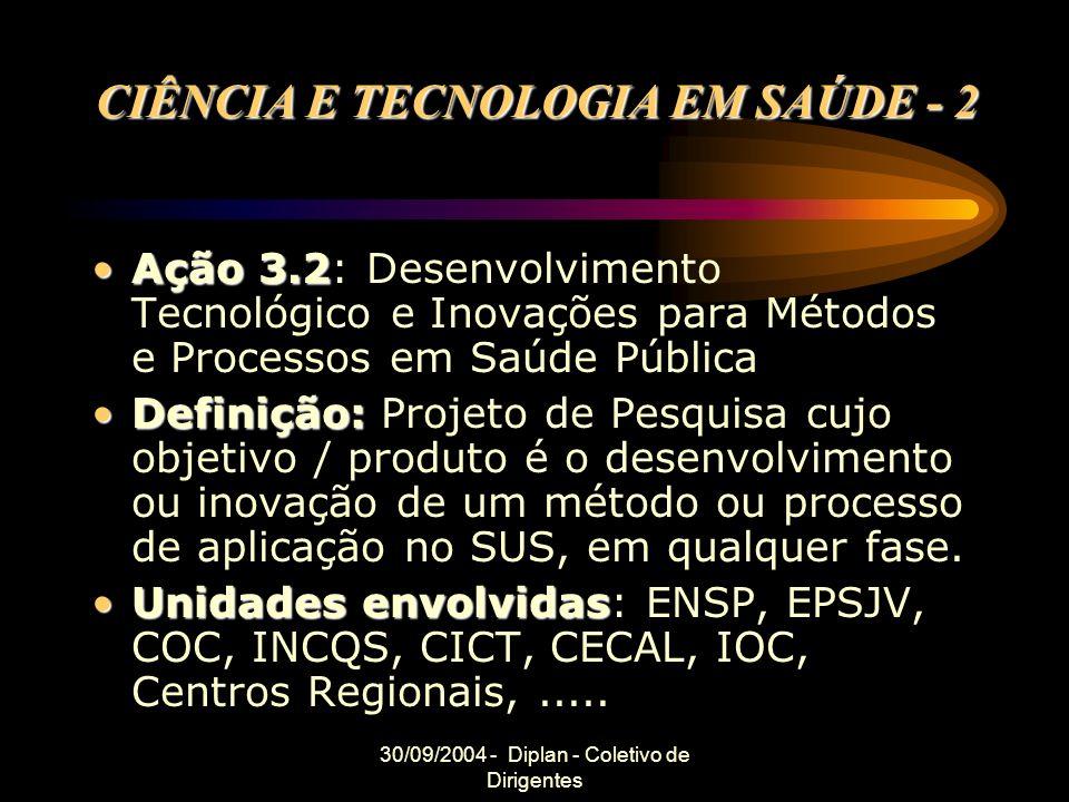 30/09/2004 - Diplan - Coletivo de Dirigentes CIÊNCIA E TECNOLOGIA EM SAÚDE - 2 Ação 3.2Ação 3.2: Desenvolvimento Tecnológico e Inovações para Métodos e Processos em Saúde Pública Definição:Definição: Projeto de Pesquisa cujo objetivo / produto é o desenvolvimento ou inovação de um método ou processo de aplicação no SUS, em qualquer fase.