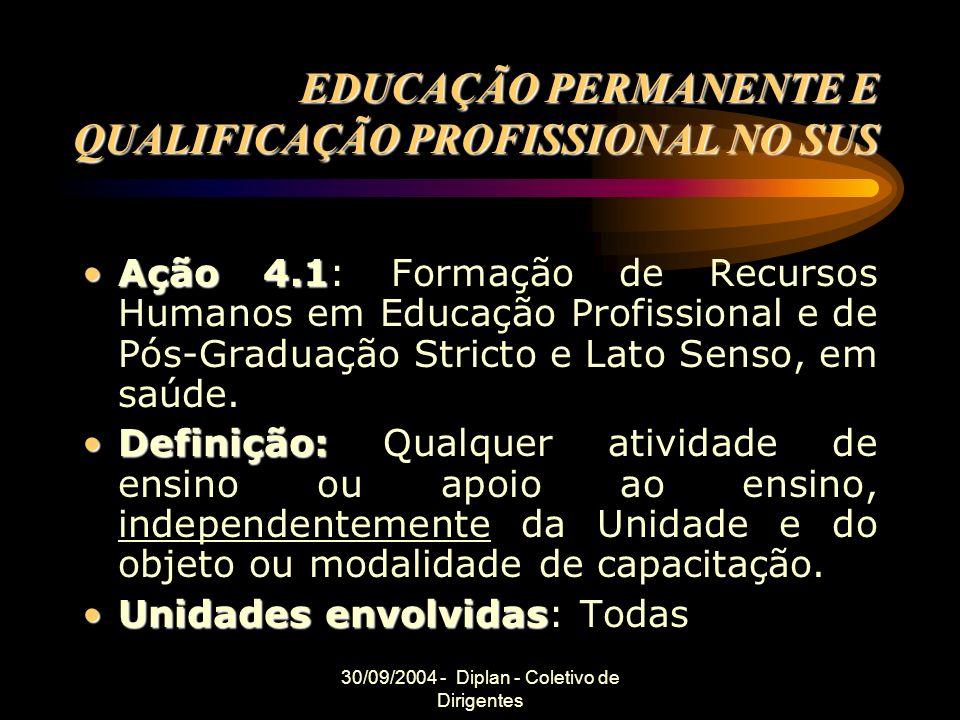 30/09/2004 - Diplan - Coletivo de Dirigentes EDUCAÇÃO PERMANENTE E QUALIFICAÇÃO PROFISSIONAL NO SUS Ação 4.1Ação 4.1: Formação de Recursos Humanos em