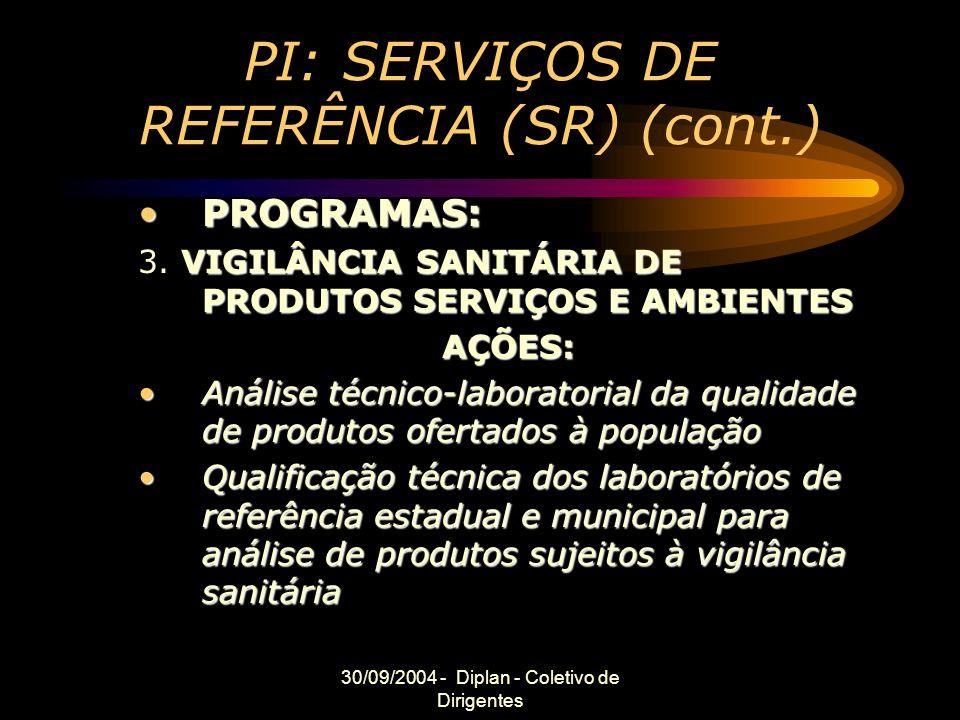30/09/2004 - Diplan - Coletivo de Dirigentes PI: SERVIÇOS DE REFERÊNCIA (SR) (cont.) PROGRAMAS:PROGRAMAS: VIGILÂNCIA SANITÁRIA DE PRODUTOS SERVIÇOS E AMBIENTES 3.