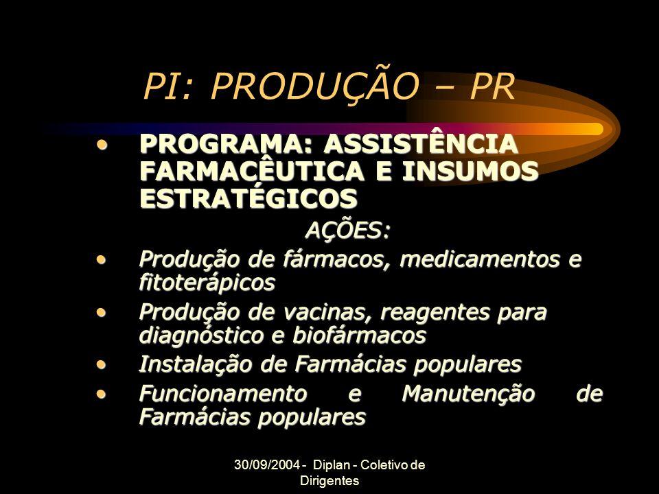 30/09/2004 - Diplan - Coletivo de Dirigentes PI: PRODUÇÃO – PR PROGRAMA: ASSISTÊNCIA FARMACÊUTICA E INSUMOS ESTRATÉGICOSPROGRAMA: ASSISTÊNCIA FARMACÊUTICA E INSUMOS ESTRATÉGICOSAÇÕES: Produção de fármacos, medicamentos e fitoterápicosProdução de fármacos, medicamentos e fitoterápicos Produção de vacinas, reagentes para diagnóstico e biofármacosProdução de vacinas, reagentes para diagnóstico e biofármacos Instalação de Farmácias popularesInstalação de Farmácias populares Funcionamento e Manutenção de Farmácias popularesFuncionamento e Manutenção de Farmácias populares