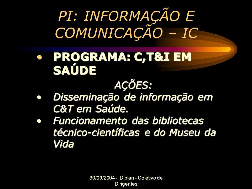 30/09/2004 - Diplan - Coletivo de Dirigentes PI: INFORMAÇÃO E COMUNICAÇÃO – IC PROGRAMA: C,T&I EM SAÚDEPROGRAMA: C,T&I EM SAÚDEAÇÕES: Disseminação de informação em C&T em Saúde.Disseminação de informação em C&T em Saúde.