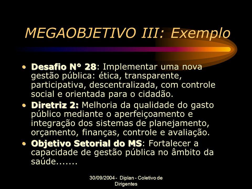 30/09/2004 - Diplan - Coletivo de Dirigentes MEGAOBJETIVO III: Exemplo Desafio N° 28Desafio N° 28: Implementar uma nova gestão pública: ética, transparente, participativa, descentralizada, com controle social e orientada para o cidadão.