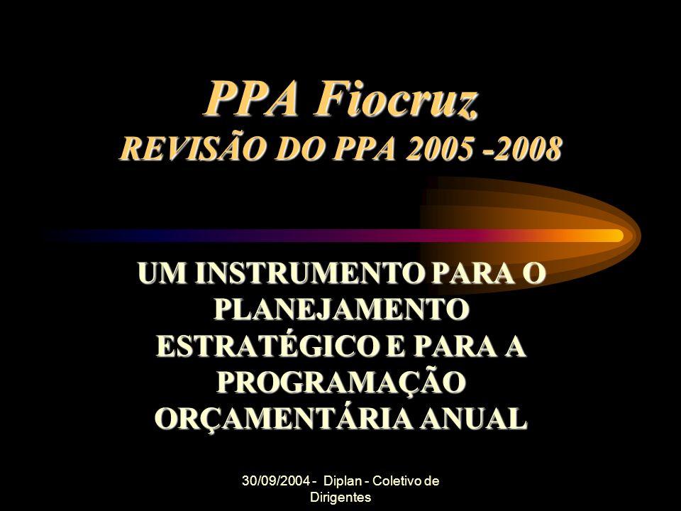30/09/2004 - Diplan - Coletivo de Dirigentes PPA Fiocruz REVISÃO DO PPA 2005 -2008 UM INSTRUMENTO PARA O PLANEJAMENTO ESTRATÉGICO E PARA A PROGRAMAÇÃO