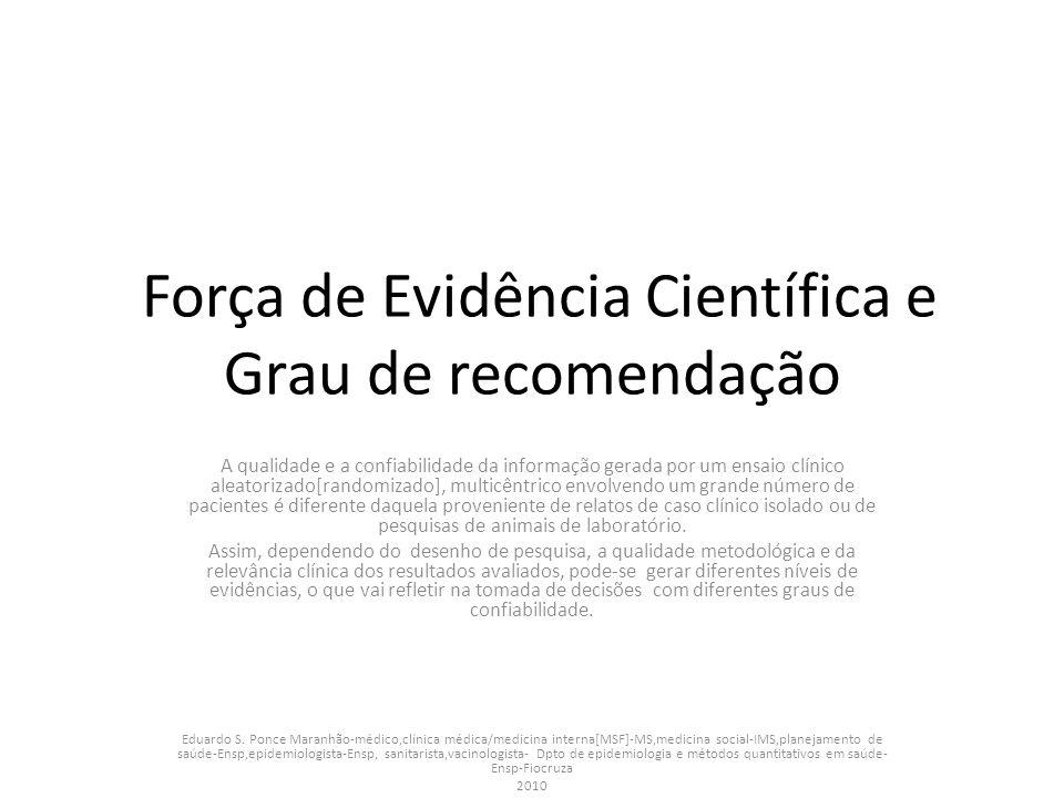 Força de Evidência Científica e Grau de recomendação A qualidade e a confiabilidade da informação gerada por um ensaio clínico aleatorizado[randomizad