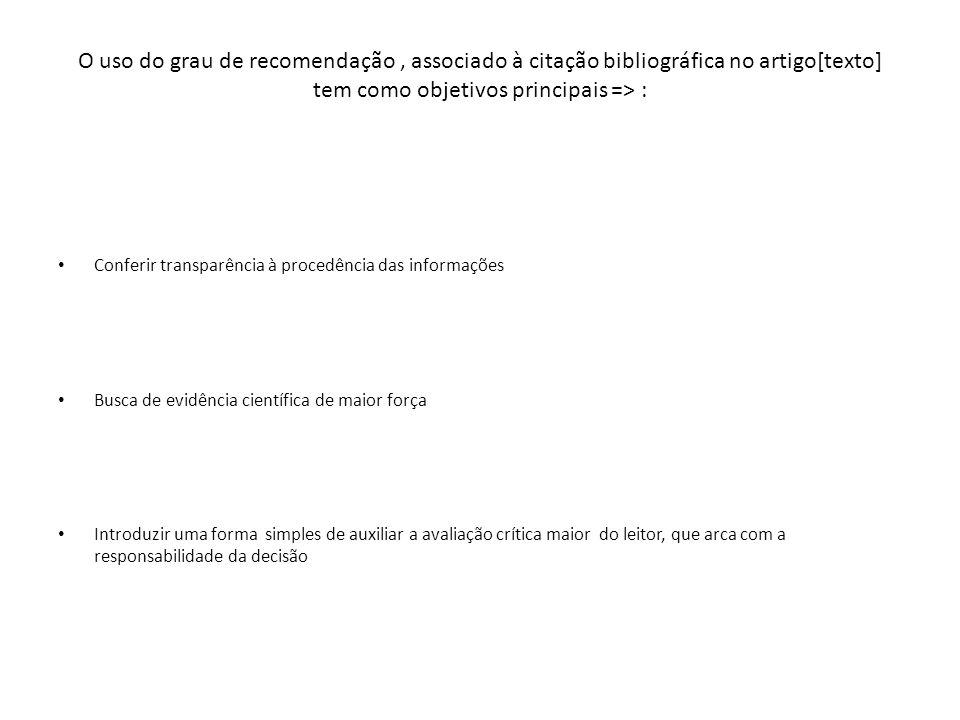 O uso do grau de recomendação, associado à citação bibliográfica no artigo[texto] tem como objetivos principais => : Conferir transparência à procedên