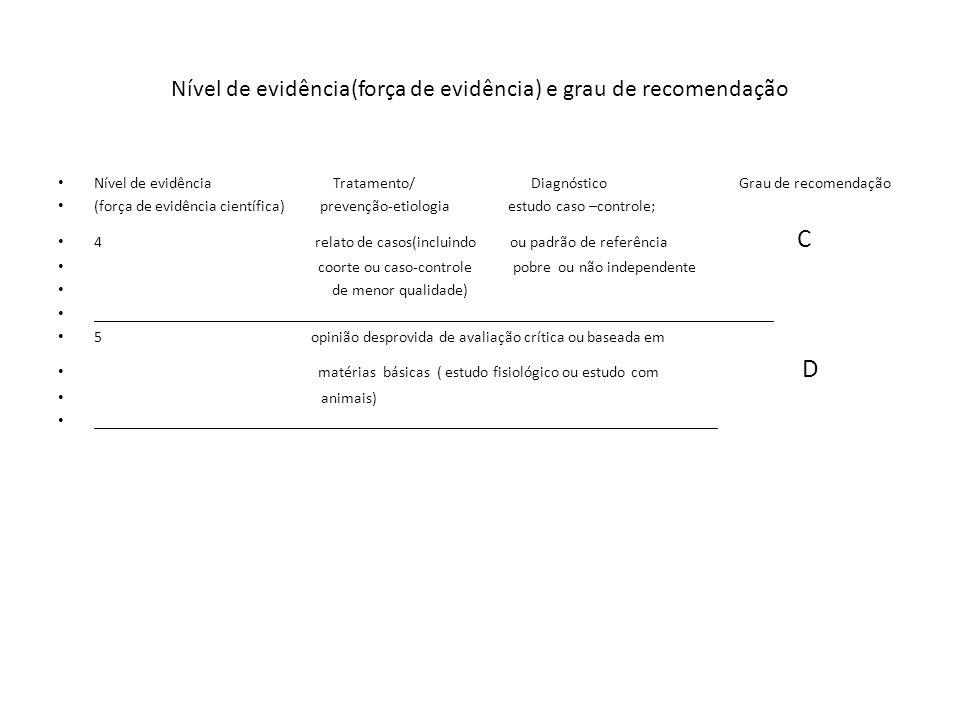 Nível de evidência(força de evidência) e grau de recomendação Nível de evidência Tratamento/ Diagnóstico Grau de recomendação (força de evidência cien