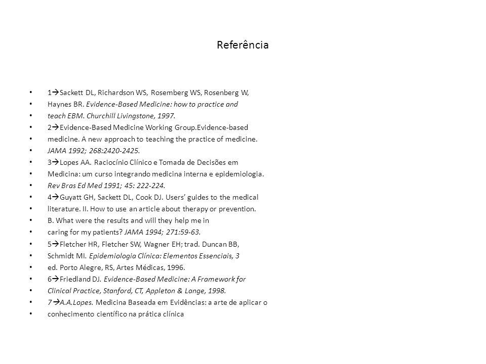 Referência 1 Sackett DL, Richardson WS, Rosemberg WS, Rosenberg W, Haynes BR. Evidence-Based Medicine: how to practice and teach EBM. Churchill Living