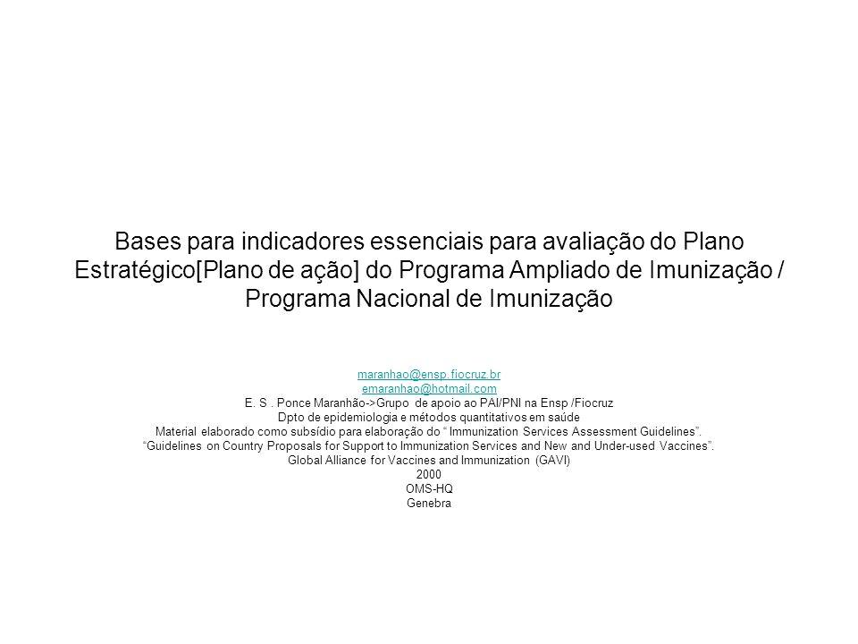 Bases para indicadores essenciais para avaliação do Plano Estratégico[Plano de ação] do Programa Ampliado de Imunização / Programa Nacional de Imuniza