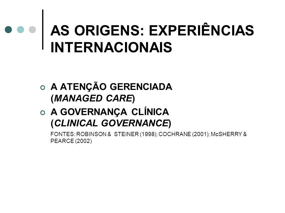 AS ORIGENS: EXPERIÊNCIAS INTERNACIONAIS A ATENÇÃO GERENCIADA (MANAGED CARE) A GOVERNANÇA CLÍNICA (CLINICAL GOVERNANCE) FONTES: ROBINSON & STEINER (199