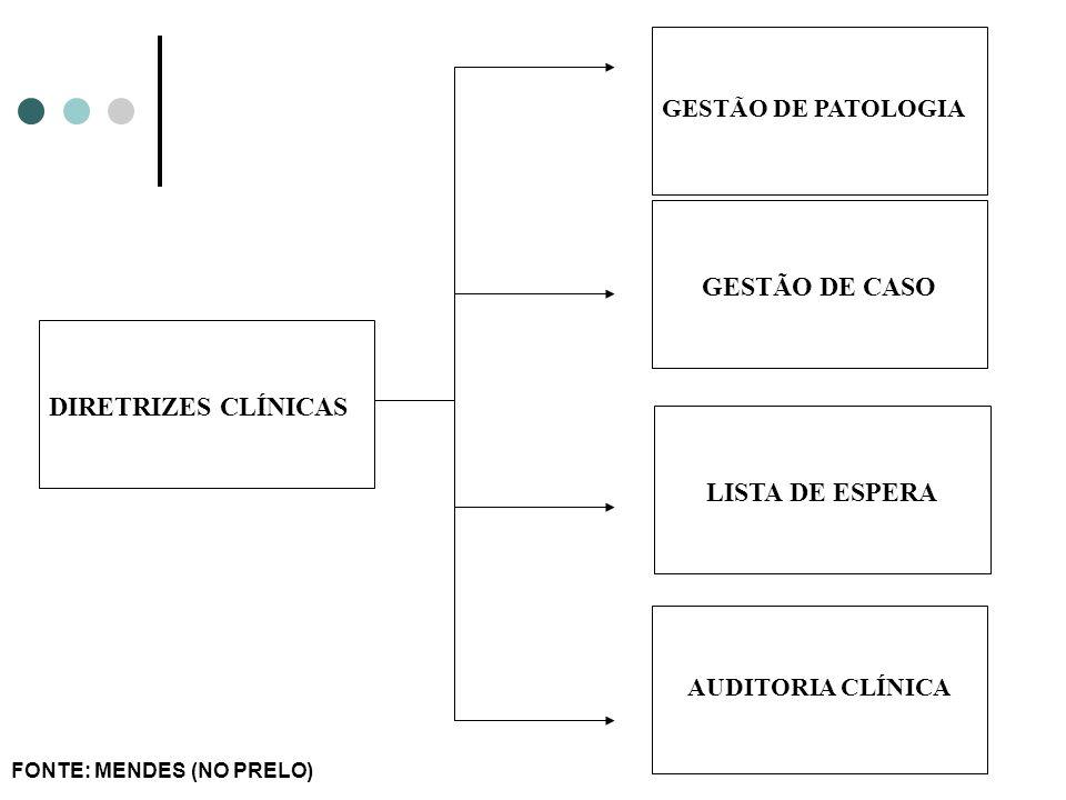 DIRETRIZES CLÍNICAS GESTÃO DE PATOLOGIA GESTÃO DE CASO AUDITORIA CLÍNICA LISTA DE ESPERA FONTE: MENDES (NO PRELO)