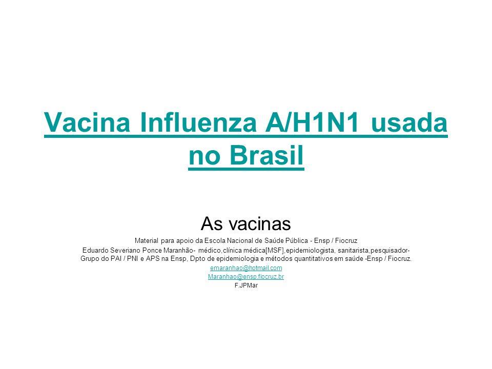 Vacina Influenza A/H1N1 usada no Brasil As vacinas Material para apoio da Escola Nacional de Saúde Pública - Ensp / Fiocruz Eduardo Severiano Ponce Ma