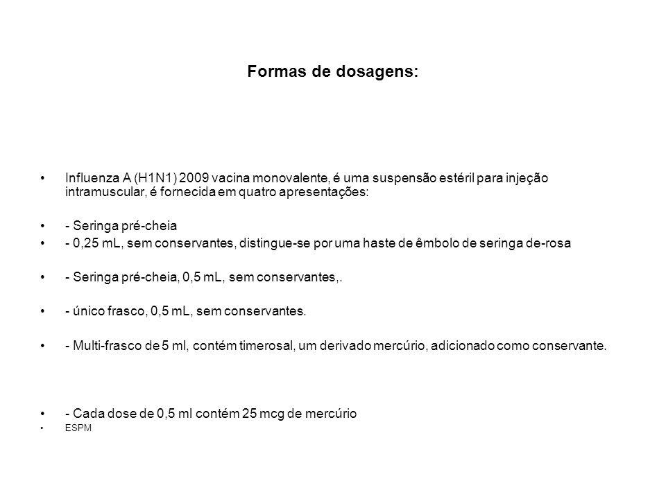 Formas de dosagens: Influenza A (H1N1) 2009 vacina monovalente, é uma suspensão estéril para injeção intramuscular, é fornecida em quatro apresentaçõe