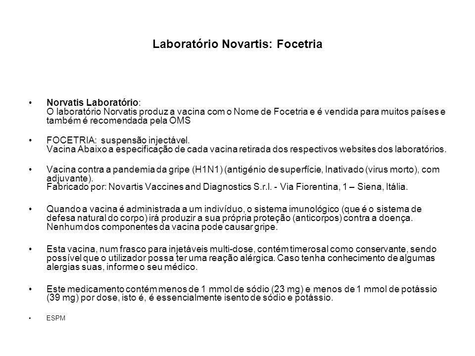 Laboratório Novartis: Focetria Norvatis Laboratório: O laboratório Norvatis produz a vacina com o Nome de Focetria e é vendida para muitos países e ta