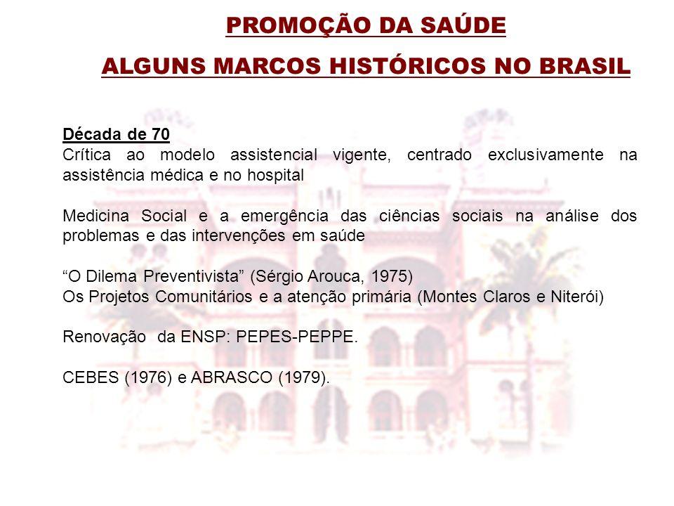 PROMOÇÃO DA SAÚDE ALGUNS MARCOS HISTÓRICOS NO BRASIL Década de 70 Crítica ao modelo assistencial vigente, centrado exclusivamente na assistência médic