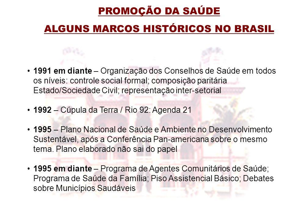 PROMOÇÃO DA SAÚDE ALGUNS MARCOS HISTÓRICOS NO BRASIL 1991 em diante – Organização dos Conselhos de Saúde em todos os níveis: controle social formal; c