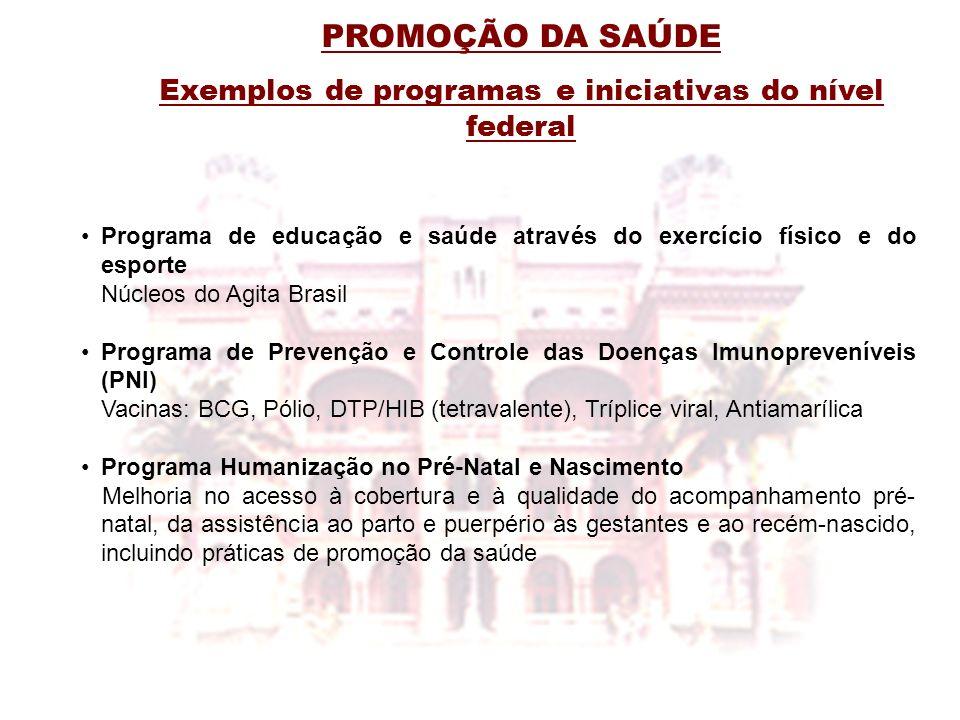 PROMOÇÃO DA SAÚDE Exemplos de programas e iniciativas do nível federal Programa de educação e saúde através do exercício físico e do esporte Núcleos d