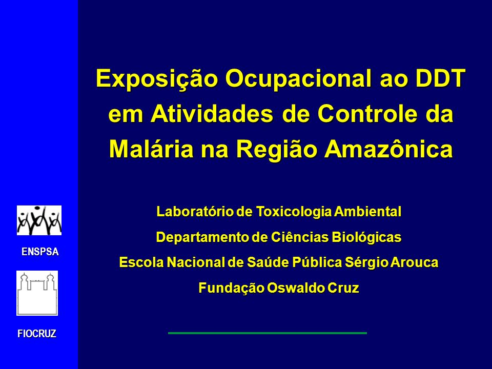 ENSPSAFIOCRUZ pp` DDT : 1,1,1-tricloro-2,2-bis (4-clorofenil) ethano CAS Nr: 50-29-3 DDT técnico (composição aproximada): pp`DDT77.1% op`DDT14.9% pp` TDE0.3% op` TDE0.1% pp`DDE4.0% op`DDE0.1% Outros compostos3.5%