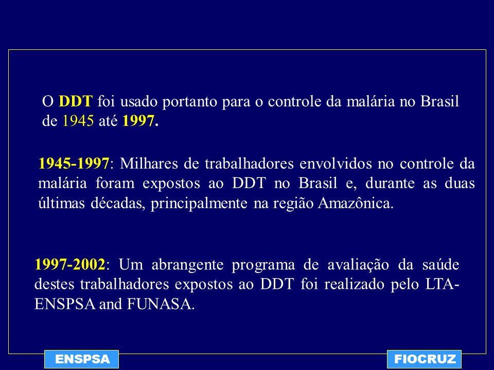 ENSPSAFIOCRUZ O DDT foi usado portanto para o controle da malária no Brasil de 1945 até 1997. 1945-1997: Milhares de trabalhadores envolvidos no contr