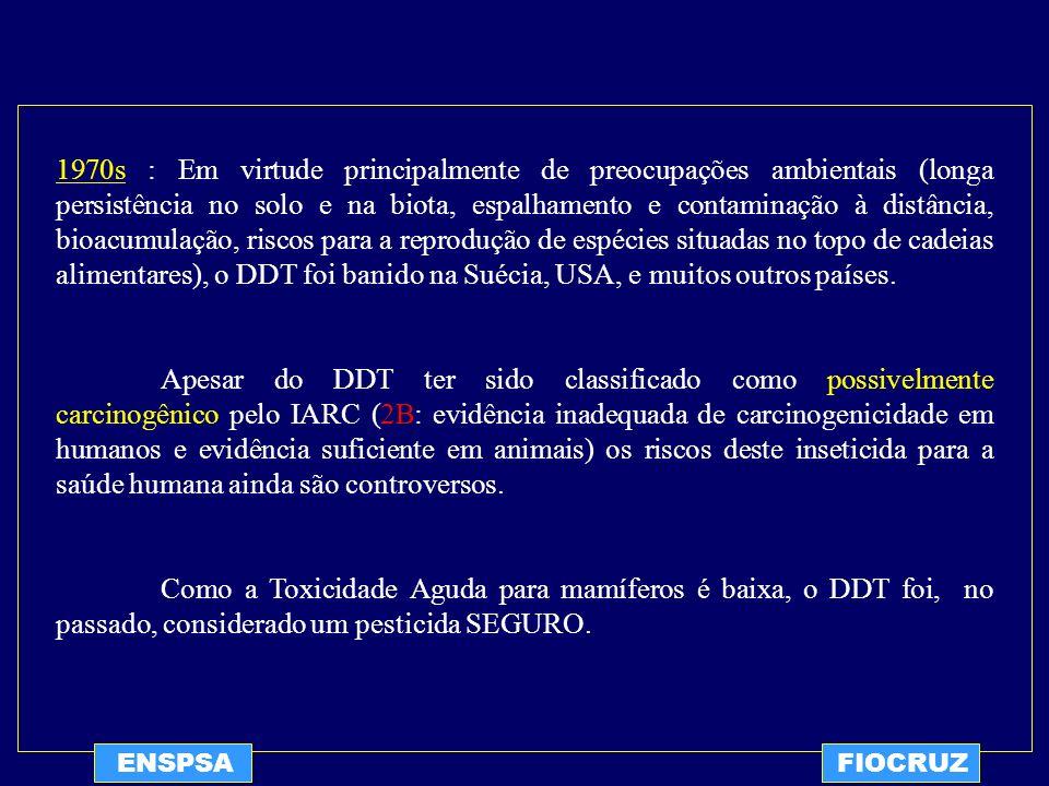 ENSPSAFIOCRUZ CONCLUSÕES DA ANÁLISE: Intoxicações Agudas por DDT são raríssimas e resultam, via de regra, de tentativas de suicídio ou de acidentes.