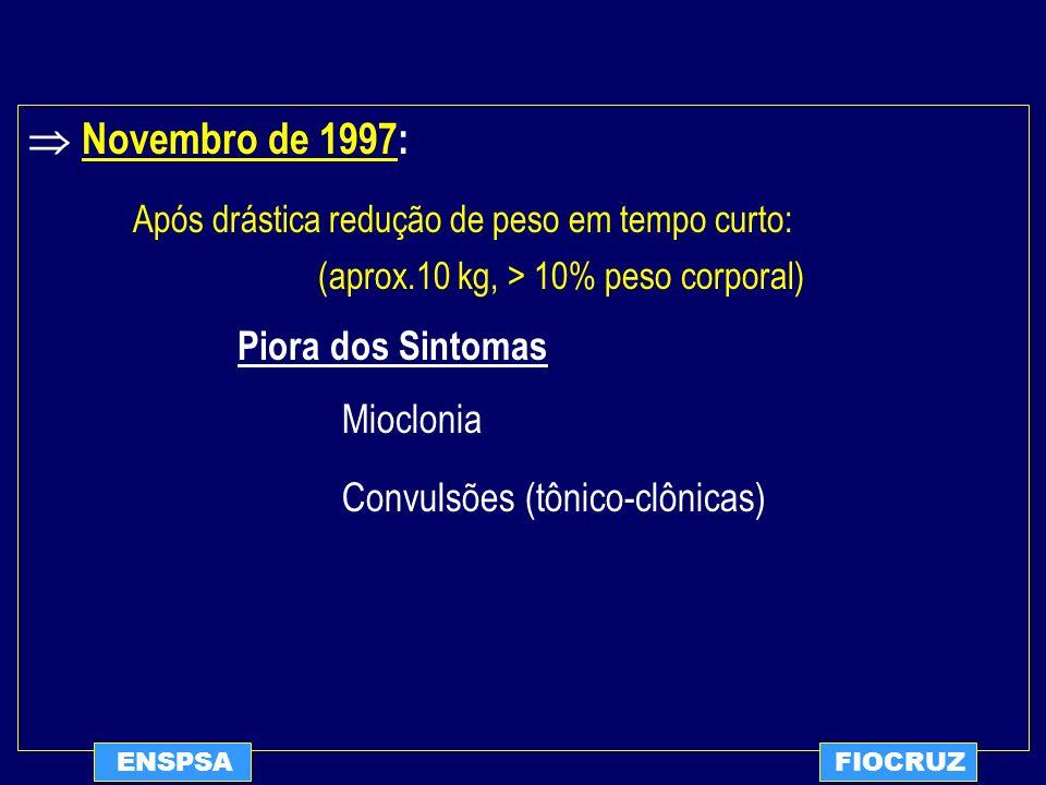 ENSPSAFIOCRUZ Novembro de 1997: Após drástica redução de peso em tempo curto: (aprox.10 kg, > 10% peso corporal) Piora dos Sintomas Mioclonia Convulsõ