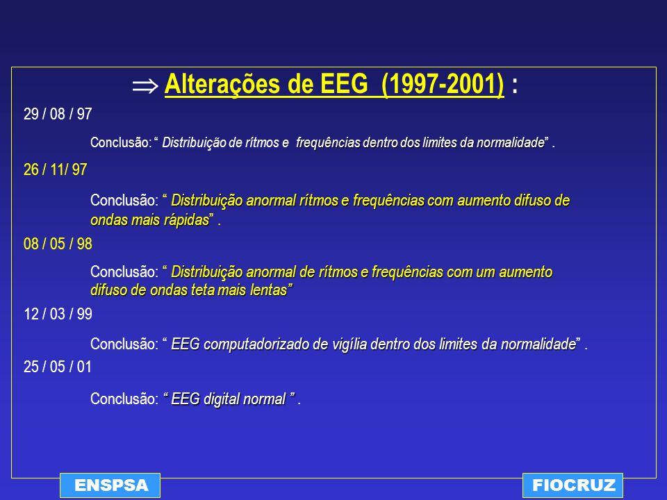 ENSPSAFIOCRUZ Alterações de EEG (1997-2001) : 29 / 08 / 97 frequências dentro dos limites da normalidade Conclusão: Distribuição de rítmos e frequênci