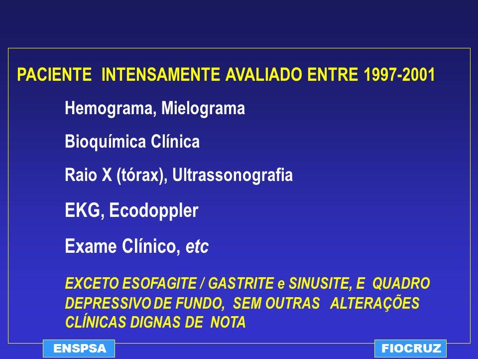 ENSPSAFIOCRUZ PACIENTE INTENSAMENTE AVALIADO ENTRE 1997-2001 Hemograma, Mielograma Bioquímica Clínica Raio X (tórax), Ultrassonografia EKG, Ecodoppler
