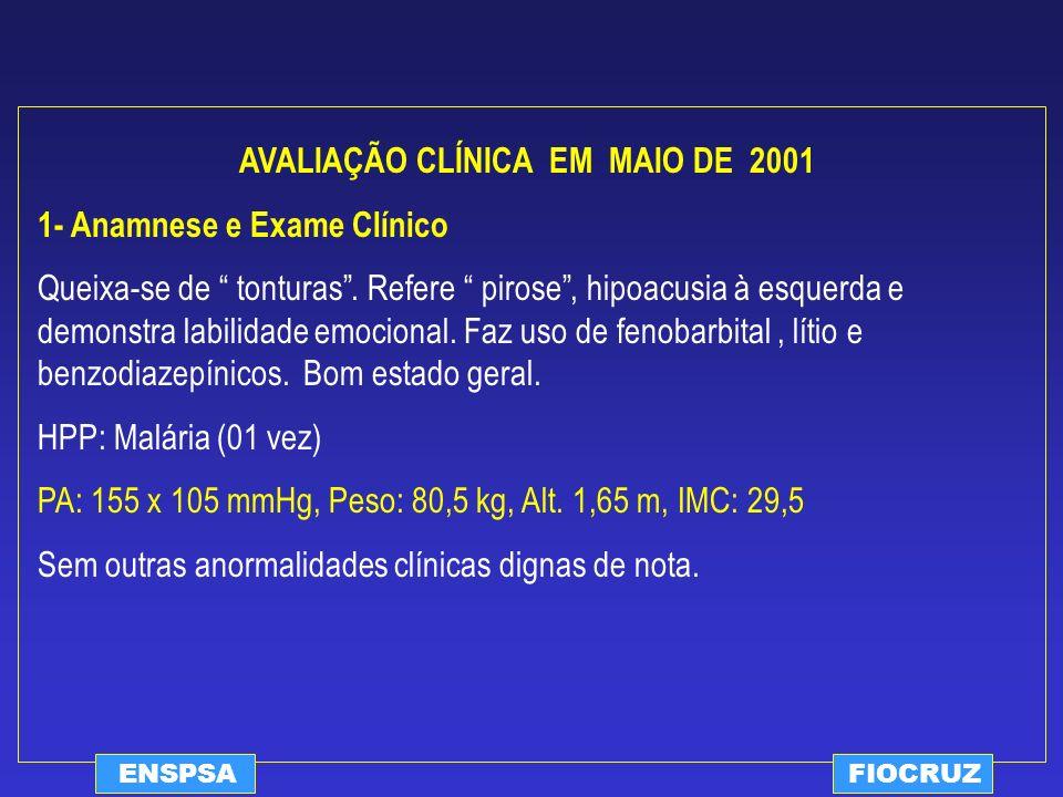 ENSPSAFIOCRUZ AVALIAÇÃO CLÍNICA EM MAIO DE 2001 1- Anamnese e Exame Clínico Queixa-se de tonturas. Refere pirose, hipoacusia à esquerda e demonstra la
