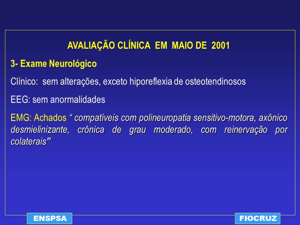 ENSPSAFIOCRUZ AVALIAÇÃO CLÍNICA EM MAIO DE 2001 3- Exame Neurológico Clínico: sem alterações, exceto hiporeflexia de osteotendinosos EEG: sem anormali