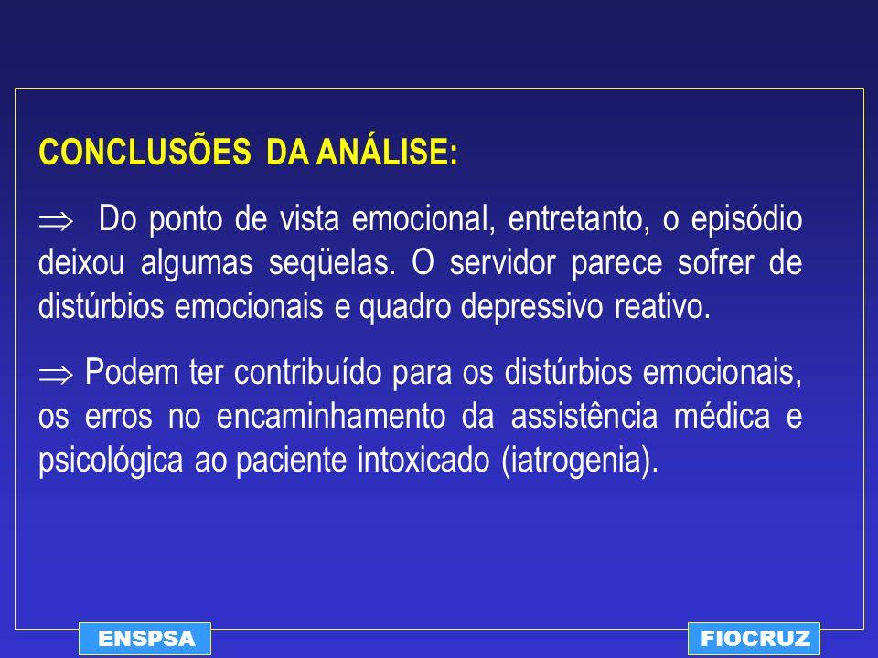 ENSPSAFIOCRUZ CONCLUSÕES DA ANÁLISE: Do ponto de vista emocional, entretanto, o episódio deixou algumas seqüelas. O servidor parece sofrer de distúrbi