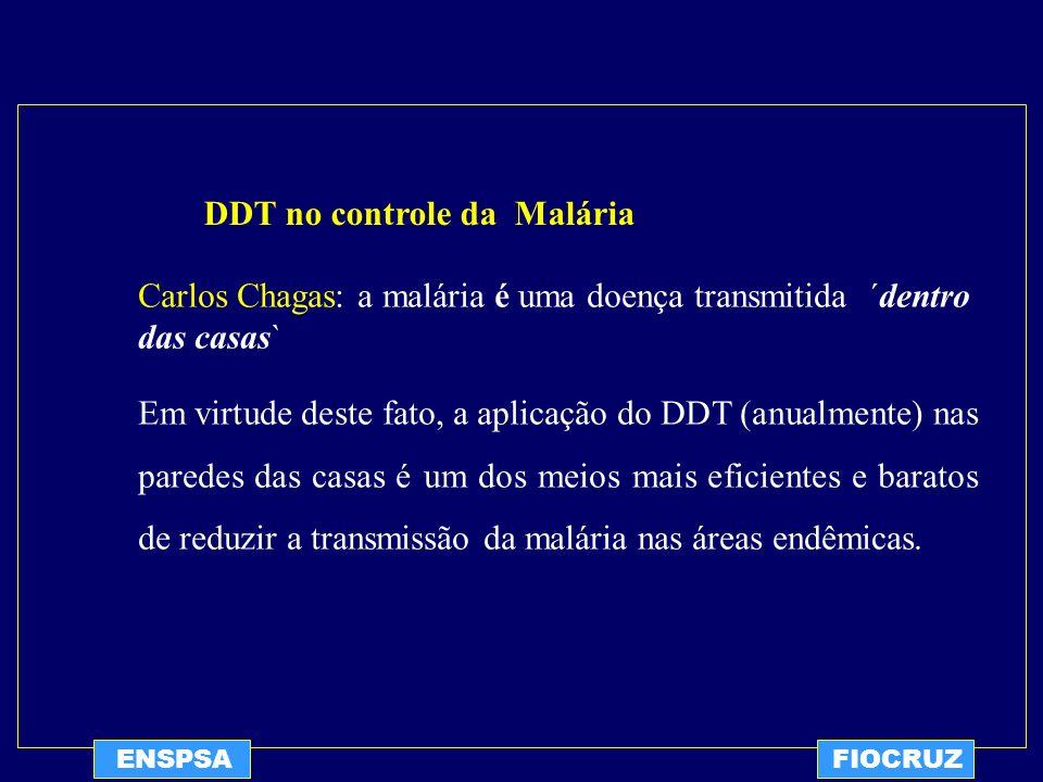 ENSPSAFIOCRUZ Uso do DDT no Brasil para controle da Malária 1945: Aplicação intradomiciliar de DDT foi usada pela primeira vez por um grupo do SESP (serviço Especial de Saúde Pública) na cidade de Breves (PA), região de alta endemicidade naquela época.