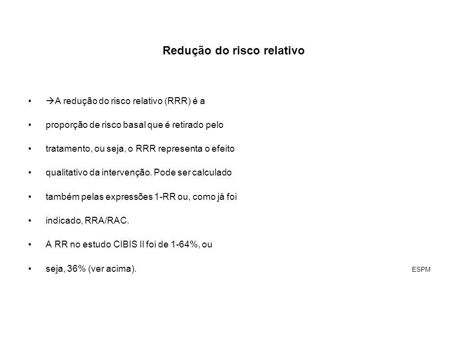 Redução do risco relativo A redução do risco relativo (RRR) é a proporção de risco basal que é retirado pelo tratamento, ou seja, o RRR representa o e