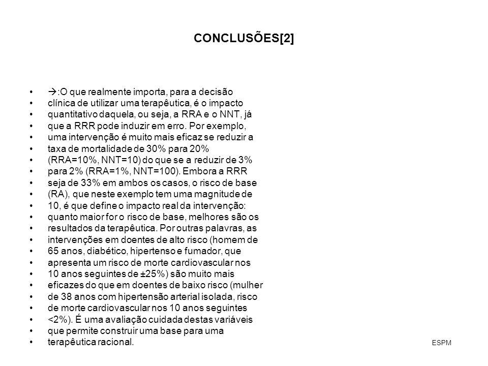 CONCLUSÕES[2] :O que realmente importa, para a decisão clínica de utilizar uma terapêutica, é o impacto quantitativo daquela, ou seja, a RRA e o NNT,